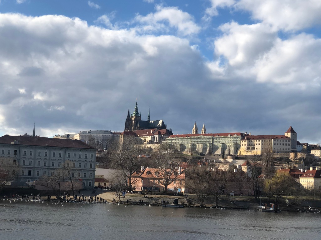 A viewpoint of Prague's castle from the banks of the Vltava River.